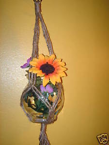 MACRAME PLANT HANGER mini 20in FRIENDSHIP - NATURAL  JUTE!