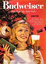 1958 Budweiser Beer Ad Anheuser Busch Bud Sexy Lady Advertisement! Old B... - $5.69