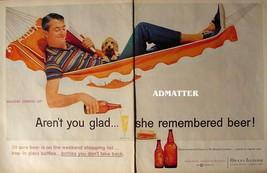 1958 Owens-Illinois Beer Bottle Ad Large Vintage Glass Advertisement! - $4.74