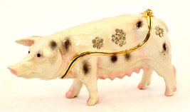 Standing Pig Trinket Box, Hand Set Clear Swarovski Crystal, Hand Painted... - $49.99