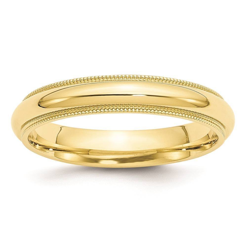 10k yellow gold 4mm milgrain comfort fit wedding ring band for Wedding ring fitters