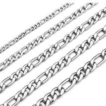 Monily 16 Inches Figaro Chain Necklace 7.5MM Stainless Steel Figaro Link... - $10.86