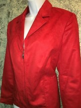 Red faux suede zip front zipper sleeve lined collar jacket EVAN PICONE 1... - $35.15
