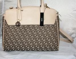 DKNY Heritage w/Saffiano Large Satchel Handbag Chino-Sand NWT Beige  - $181.23