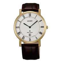 Orient FGW0100FW0 38mm Gold Plated Stainless Steel Case Brown Calfskin Anti-R... - $141.15
