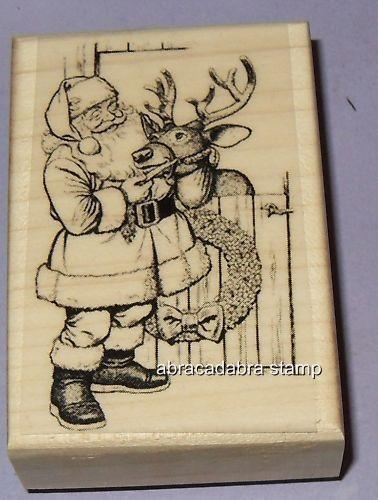 Santa with Rudolph New MOUNTED RUBBER STAMP