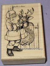 Santa with Rudolph New MOUNTED RUBBER STAMP - $6.50