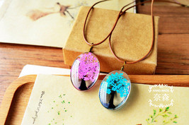 Flyleaf 2017 Handmade Natural Dry Flowers Life Tree Long Necklaces & Pen... - $4.43