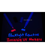 Set of 2 DirectGlow XL Invisible Blue Red UV Blacklight Reactive Ink Marker - $7.95