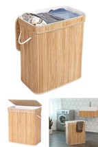 Laundry Basket Hamper Lid Bamboo Dirty Washing Clothes Fabric Bag Extra ... - $49.30