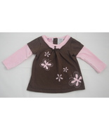 Young Hearts 12M Top Brown Pink Layered Short & Long Sleeve Butterflies ... - $3.95