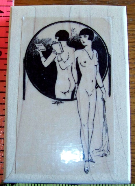 NUDE FRENCH LADY IN VINTAGE MIRROR mounted rubber stamp