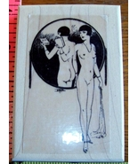 NUDE FRENCH LADY IN VINTAGE MIRROR mounted rubber stamp - $10.80