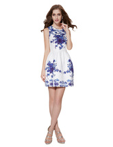 White Sleeveless Fit And Flare Skater Dress With Blue Floral Print - $95.00