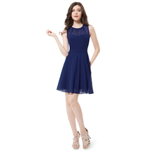 Elegant Royal Blue Sleeveless Short Chiffon Bridesmaid Dress - $85.00