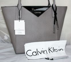 Calvin Klein Handbags Saffiano Leather Tapered Tote SMOKE GREY/BLACK  - $163.65
