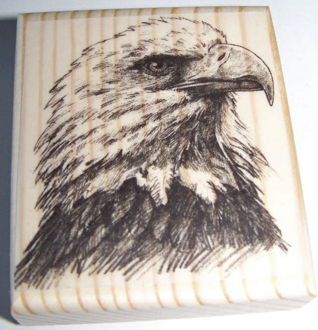 EAGLE HEAD NEW mounted rubber stamp