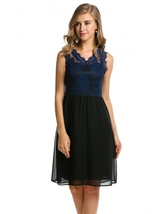 Women V-Neck Sleeveless Slim Lace Chiffon Cocktail Dress (Blue) - $21.95