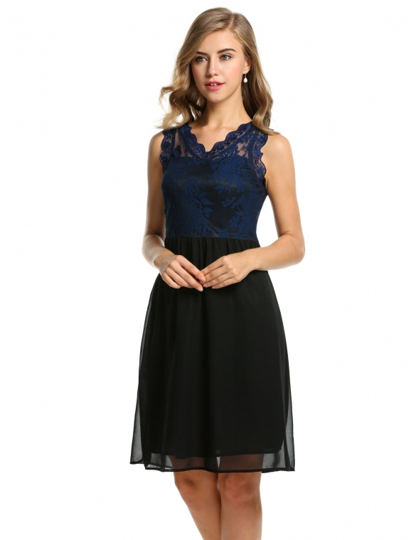 Women V-Neck Sleeveless Slim Lace Chiffon Cocktail Dress (Blue)