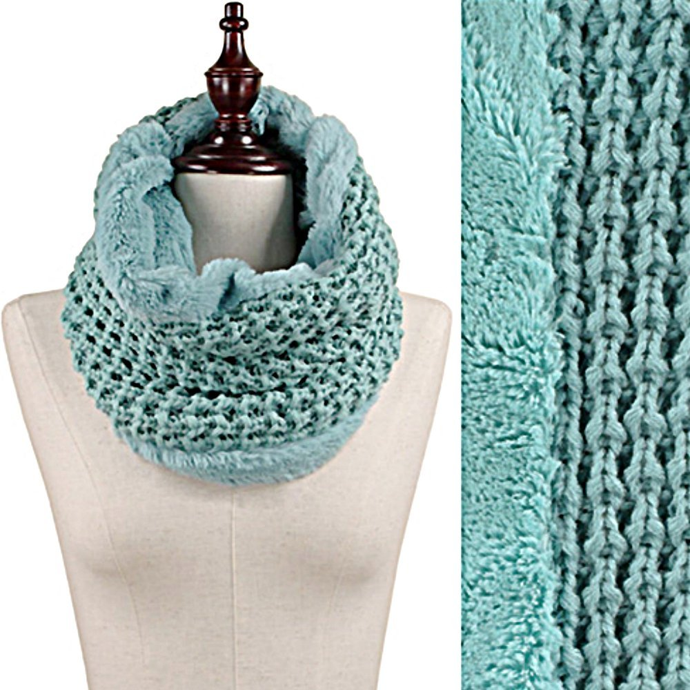 Mint Green Faux Fur Trim Rib Knit Loop Infinity Cowl Neck Scarf Wrap image 1