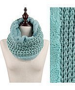 Mint Green Faux Fur Trim Rib Knit Loop Infinity Cowl Neck Scarf Wrap - $321,31 MXN