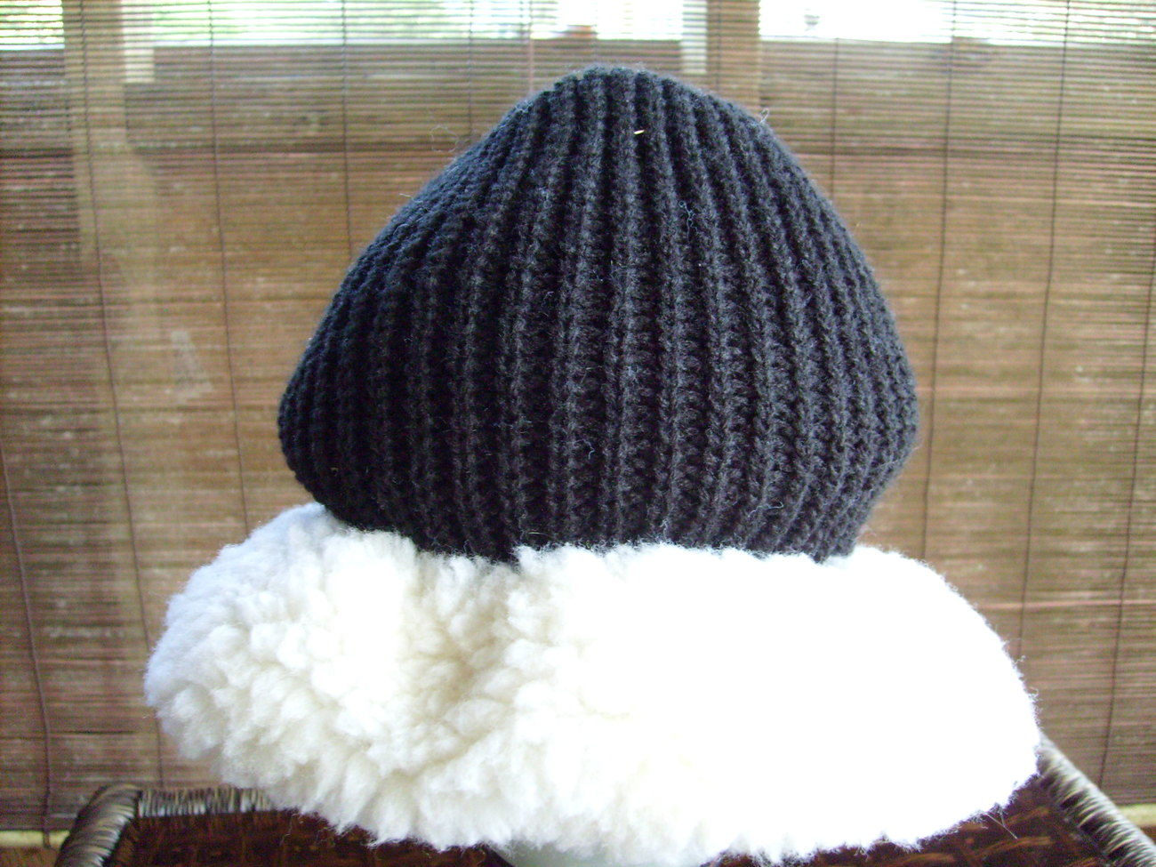 Womens Black Knit Hat with White Trim