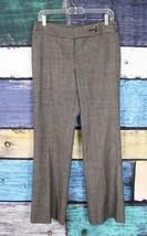 Ann Taylor 4 Brown White Wool Spandex Margo Wide Leg Dress Pants Career ... - $24.74