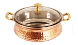 Beautiful Stainless Steel Hammered Copper Serving Donga Handi Tureen Wit... - ₹2,108.20 INR