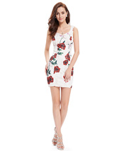Cute White Short Mini Sheath Summer Dresses With Red Floral Print - $82.00