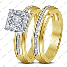 Round Cut White Cz 14K Gold Fn. 925 Silver Engagement Wedding Bridal Rin... - $99.99