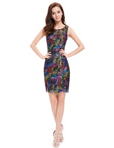 Multi Color Lace Short Sheath Cocktail Semi Formal Dress - $92.00