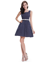 Navy Polka Dot Fit And Flare Shift Summer Dress With White Belt - $85.00