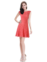 Coral Lace Fit And Flare Short Cocktail Dress With Cap Sleeves - $85.00