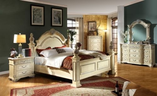 Meridian Sienna King Size Panel Bedroom Set Traditional Style 2 Night Stands