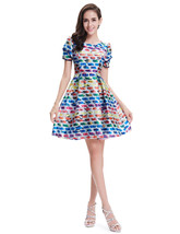 Multicolored Summer Fit And Flare Skater Dresses With Short Sleeves - $92.00