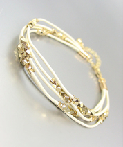 CHIC & SHIMMERY White Leather Multi Cords Faceted Gold Beads Bracelet - €14,15 EUR