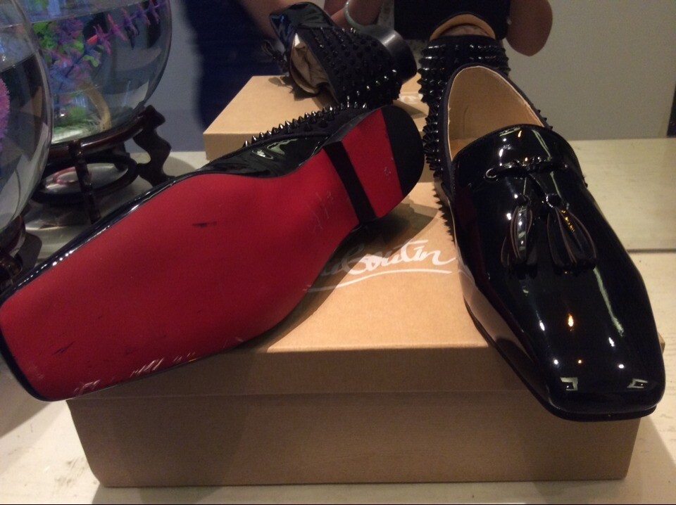 Red Bottom Loafers for men, Black Patent Leather with Tassel & Rivets