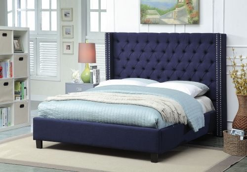 Meridian Ashton King Size Bed Linen Upholstered Navy Chic Contemporary Style