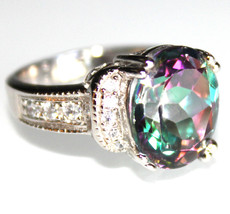 Ladies Stunning 925 Sterling Silver Mystic Topaz Cubic Zirconia Oval Rin... - $84.97