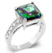 Womens Sterling Silver Mystic Topaz Mini Clear Cubic Zirconia Accented R... - $49.97