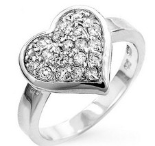 925 Sterling Silver Encrusted Clear Pave Cubic Zirconia Heart Love Ring ... - $44.97