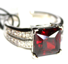Women Classic Center Stage Garnet Red Clear Square Cubic Zirconia Cz Rin... - $14.97