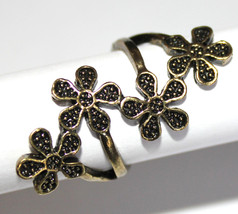 Girl Brass Floral Elongated Long Flower Rustic Antique Gold Finish Ring ... - $7.97