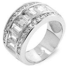 Glamour 925 Sterling Silver Front Clear Band Cubic Zirconia Encrusted Ri... - $44.97