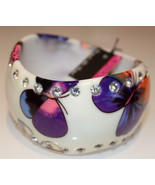 Butterfly Multi-Color Crystal Accent Curved Colorful Acrylic Bangle Brac... - $6.73