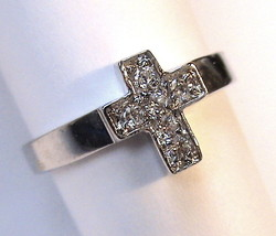 Jewels by Park Lane Aria Tiny Mini Cross White Clear Cubic Zirconia Ring... - $24.95
