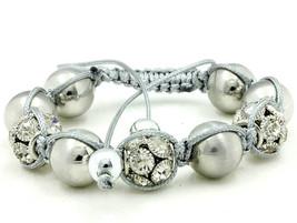 15mm Macramae Silver Tone Beaded Crystal Sphere Dressy Metallic Adjust. ... - $13.46