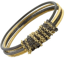 Womens Sizzle High End Matte Chained Bangle Gold Plated Hematite Brass B... - $39.11