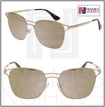 Prada Cinema Square PR54TS Pale Gold Mirrored Metal Sunglasses 54T Women - $217.80