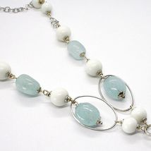 Necklace Silver 925, Spheres Agate White, Aquamarine Drop, Pendant, Ovals image 3